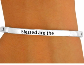 """<Br>                LEAD & NICKEL FREE!!<br>   W8713B - POLISHED SILVER FINISH<Br>""""BLESSED ARE THE POOR IN SPIRIT..""""<br>  RELIGIOUS SCRIPTURE STACKABLE<Br>            STRETCH BRACELET FROM<Br>                       $2.25 TO $5.00"""