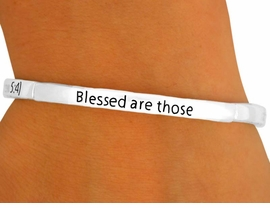 """<Br>                  LEAD & NICKEL FREE!!<br>   W8729B - POLISHED SILVER FINISH<br>""""BLESSED ARE THOSE WHO MOURN...""""<Br>        STACKABLE STRETCH BRACELET<br>                  FROM $2.25 TO $5.00"""