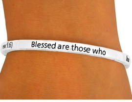 """<bR>                    LEAD & NICKEL FREE!!<br>     W8730B - POLISHED SILVER FINISH<br>""""BLESSED ARE THOSE WHO HUNGER...""""<Br>         STACKABLE STRETCH BRACELET<Br>                    FROM $2.25 TO $5.00"""