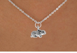 "<Br>               LEAD & NICKEL FREE!!<BR> W901SN - BUNNY ON A CHILDREN'S 12""<Br>     OR ADULT 18' CHAIN NECKLACE<BR>              FROM $5.63 TO $12.50"
