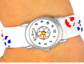 <bR>                   LEAD & NICKEL FREE!!<Br>W9071WT - UNISEX CHILDREN'S WHITE<Br>     SOCCER BALL ELECTRONIC WATCH<Br>                       AS LOW AS $5.90