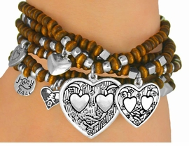 <Br>                 LEAD & NICKEL FREE!!<Br>W9605B - 6-PIECE WOODEN BEADED<br>HEART DROP STRETCH BRACELET SET<Br>                FROM $6.75 TO $15.00