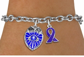 <bR>            LEAD & NICKEL FREE!! <BR>        WHOLESALE POLICE JEWELRY <BR> W20329B - POLICE BADGE / SHIELD &<BR>  PURPLE AWARENESS RIBBON CHARMS <BR>        ON TOGGLE CLASP BRACELET <BR>      FROM $5.06 TO $11.25 �2013