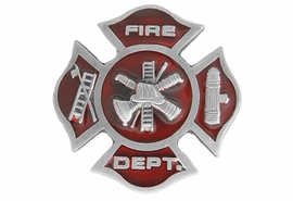 "<Br>    MADE IN THE USA, LEAD & NICKEL FREE!!<Br>              W17305P - SMALL ""FIRE DEPT.""<Br>                     PEWTER AND RED ENAMEL <BR>                   MALTESE TACK PIN $2.36"