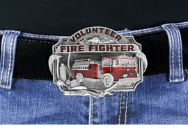 "<Br>    MADE IN THE USA, LEAD & NICKEL FREE!!<Br>     W17314BK - ""VOLUNTEER FIRE FIGHTER""<Br>     PEWTER AND RED ENAMEL FIRE TRUCK<Br>                        BELT BUCKLE $12.40"