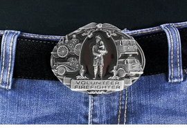 "<Br>    MADE IN THE USA, LEAD & NICKEL FREE!!<Br>     W17316BK - ""VOLUNTEER FIRE FIGHTER""<Br>     PEWTER AND RED ENAMEL FIRE TRUCK<Br>                        BELT BUCKLE $12.40"