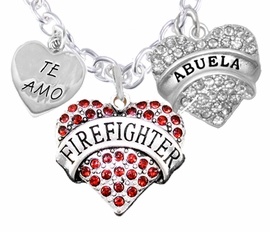 "<Br>              WHOLESALE FIREFIGHTER JEWELRY  <BR>                         AN ALLAN ROBIN DESIGN!! <Br>                   CADMIUM, LEAD & NICKEL FREE!!  <BR>       A GREAT GIFT TO A FIREFIGHTERS GRANDMA<Br> W1557-463-1759N1 ""TE AMO ABUELA IN SPANISH<BR>         (I LOVE YOU GRANDMA)"" HEART  CHARMS <BR>           NECKLACE  FROM $9.73 TO $14.58 �2016"