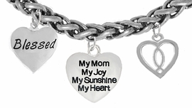 "MOM, ""BLESSED"","" MY MOM, MY JOY, MY SUNSHINE, MY HEART"",<br>              ""ICHTHUS FISH"", BRACELET, HYPOALLERGENIC, SAFE, <br>               NICKEL, CADIUMUN, LEAD FREE,  FROM $7.38 TO $10.38 <Br>                                                    W272-1893-259B18"