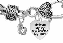 "MOM, ""MOTHER AND HER CHILD"","" MY MOM, MY JOY, MY SUNSHINE, MY HEART"",<br>             CHARM ON A ANTIQUE WHEAT CHAIN BRACELET, HYPOALLERGENIC, SAFE, <br>                                 NICKEL, CADIUMUN, LEAD FREE,  FROM $7.38 TO $10.38 <Br>                                                                         W571-1893B1"