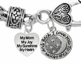 "MOM,""MY MOM, MY JOY, MY SUNSHINE, MY HEART"", ""I LOVE YOU TO THE MOON AND BACK"",<br>             CHARM ON A ANTIQUE WHEAT CHAIN BRACELET, HYPOALLERGENIC, SAFE, <br>                                 NICKEL, CADIUMUN, LEAD FREE,  FROM $7.38 TO $10.38 <Br>                                                                        1893-1818B1"