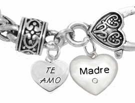 "MOM, ""TE AMO (I LOVE YOU)"","" MADRE (MOTHER)"",<br>             CHARM ON A ANTIQUE WHEAT CHAIN BRACELET, HYPOALLERGENIC, SAFE, <br>                                 NICKEL, CADIUMUN, LEAD FREE,  FROM $7.38 TO $10.38 <Br>                                                                         463-1891B1"