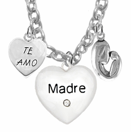"<BR>                                 MOM, ""TE AMO"", "" MADRE"", ""MOTHER AND HER CHILD""<br>             CHARMS ON A 18 INCH CABLE CHAIN NECKLACE, HYPOALLERGENIC, SAFE, <br>                                 NICKEL, CADIUMUN, LEAD FREE,  FROM $7.38 TO $10.38 <Br>                                                                         W463-1891-571N1"