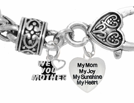 "MOM, ""WE LOVE YOU MOTHER"","" MY MOM, MY JOY, MY SUNSHINE, MY HEART"",<br>             CHARM ON A ANTIQUE WHEAT CHAIN BRACELET, HYPOALLERGENIC, SAFE, <br>                                 NICKEL, CADIUMUN, LEAD FREE,  FROM $7.38 TO $10.38 <Br>                                                                         346-1893B1"