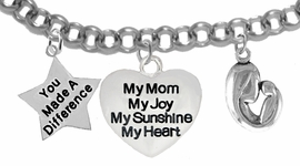 "<BR>                              MOM, ""YOU MADE A DIFFERENCE"",""MY MOM, MY JOY, MY SUNSHINE,<BR>                                        MY HEART"", ""MOTHER AND CHILD"", CHARMS ON A ANTIQUE<BR>                                                   WHEAT CHAIN BRACELET, HYPOALLERGENIC, SAFE, <br>                                               NICKEL, CADIUMUN, LEAD FREE,  FROM $7.38 TO $10.38 <Br>                                                                                     W461-1893-571B2"