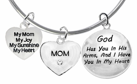 My Mom, My Joy, My Sunshine, My Heart, Crystal Mom, <BR>    God Has You In His Arms,And I Have You In My Heart<br>     Adjustable Bracelet, Hypoallergenic, Safe-Nickel, <BR>                     Lead, Free   From $7.38 To $10.38<BR>                                   W1893-1860-1677B9