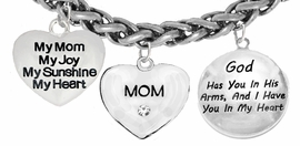 My Mom, My Joy, My Sunshine, My Heart, Crystal Mom, <BR>   God Has You In His Arms, And I Have You In My Heart, <BR>                       Adjustable Bracelet, Hypoallergenic, <BR>                    Safe-Nickel, Lead, Free   $7.38 To $10.38<BR>                               W1893-1860-1677B17