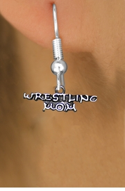 <BR>      WRESTLING MOM FISH HOOK NON ALLERGIC EARRINGS<BR>                  AN ORIGINAL ALLAN ROBIN CUSTOM DESIGN<br>                                WHOLESALE CHARM EARRINGS <BR>                              LEAD, CADMIUM & NICKEL FREE!!  <BR>               W21540E-NON-ALLERGIC, BRIGHT SILVER TONE <BR>      FISH HOOK EARRINGS FROM $4.65 TO $8.45 EACH! ©2014