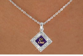 "<Br>   OFFICIALLY LICENSED COLLEGE!!<Br>               LEAD & NICKEL FREE!!<Br>       W16519N - LOUISIANA STATE<Br>   UNIVERSITY ""TIGERS"" AUSTRIAN<Br>CRYSTAL TRIMMED DIAMOND DROP<Br>   NECKLACE FROM $5.63 TO $12.50"