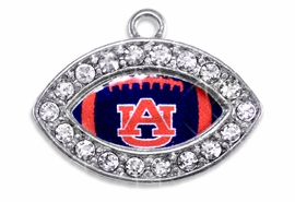 "<Br> OFFICIALLY LICENSED COLLEGIATE CHARM!! <Br>       CADMIUM, LEAD & NICKEL FREE!! <Br>   W1447SC - SILVER TONE AND CRYSTAL <BR>    MINI-FOOTBALL SHAPED CHARMS WITH <Br>     THE AUBURN UNIVERSITY ""AU"" LOGO <BR>           FROM $3.25 TO $4.05 �2013"