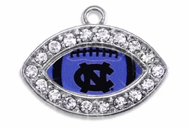 <Br> OFFICIALLY LICENSED COLLEGIATE CHARM!! <Br>       CADMIUM, LEAD & NICKEL FREE!! <Br>   W1467SC - SILVER TONE AND CRYSTAL <BR>    MINI-FOOTBALL SHAPED CHARMS WITH <Br> THE UNIVERSITY OF NORTH CAROLINA LOGO <BR>           FROM $3.25 TO $4.05 �2013