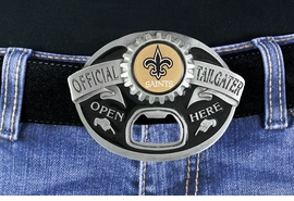 "<Br>            OFFICIALLY LICENSED NFL!!<Br> W18936BK - NEW ORLEANS SAINTS ""OFFICIAL <Br>TAILGATER"" BELT BUCKLE WITH BOTTLE <Br>     OPENER YOUR LOW PRICE IS $23.85"