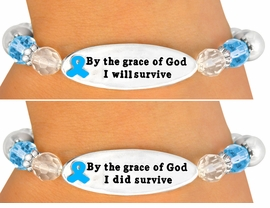 "<br> ONE OF THE MOST IMPORTANT MESSAGE <br>         BRACELETS WE HAVE EVER MADE!<br>                       EXCLUSIVELY OURS!!!<BR>W10714B - TEAL""BY THE GRACE OF GOD...""<BR>DOUBLE-SIDED AWARENESS RIBBON DISC<Br>STRETCH BRACELET FROM $4.50 TO $10.00"