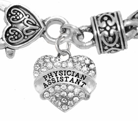 <BR>          PHYSICIANS ASSISTANT, GENUINE CRYSTAL HEART<br>        TWO-TONE CABLE BRACELET, SAFE-HYPOALLERGENIC, <BR>NICKEL, LEAD, CADMIUM FREE, FROM $ 7.38 TO $10.38 �2016,