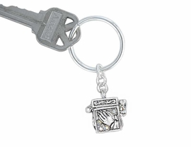 S1291KC - SILVER TONE PRAYER BOX<Br>             & SCRIPTURE KEY CHAIN<bR>            YOUR LOW PRICE IS $3.35