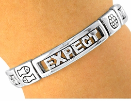 "<Br>              LEAD & NICKEL FREE!!<Br>   S1862B - OUR #1 BEST SELLING<Br>   RELIGIOUS ""EXPECT MIRACLES""<BR>SILVER STRETCH BRACELET  �2001<br>          FROM $6.38 TO $12.50"