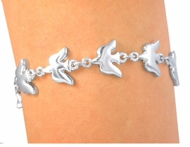 "<br>S2064B - BEAUTIFUL NEW ""DOVE OF PEACE""<br>        HIGHLY POLISHED MAGNETIC CLASP<br>                 BRACELET AS LOW AS $3.35"