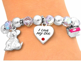 "S2390B - ""I LOVE MY DOG""<br>STRETCH CHARM BRACELET<bR>       FROM $3.94 TO $8.75"