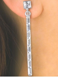 S2504E - DAZZLING SILVER FINISH<BR> AUSTRIAN CRYSTAL ROD CLIP-ON<BR>       EARRINGS AS LOW AS $7.40