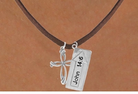 "<BR>             ""THE WAY TO THE LORD""<BR>                ""EXCLUSIVELY OURS""<bR>             AN ALLAN ROBIN DESIGN<Br>                LEAD & NICKEL FREE!!<Br>W14274N - DOUBLE-SIDED JOHN 14:6<br>  & CROSS BROWN SUEDE NECKLACE<br>               FROM $6.19 TO $13.75"