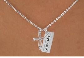 "<BR>             ""THE WAY TO THE LORD""<BR>                ""EXCLUSIVELY OURS""<bR>             AN ALLAN ROBIN DESIGN<Br>                LEAD & NICKEL FREE!!<Br>W14276N - DOUBLE-SIDED JOHN 14:6<br>      & CROSS CHAIN LINK NECKLACE<br>               FROM $6.19 TO $13.75"
