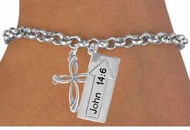 "<BR>             ""THE WAY TO THE LORD""<BR>                ""EXCLUSIVELY OURS""<bR>            AN ALLAN ROBIN DESIGN<Br>                LEAD & NICKEL FREE!!<Br>W14278B - DOUBLE-SIDED JOHN 14:6<br>     & CROSS CHAIN LINK BRACELET<br>                FROM $6.19 TO $13.75"