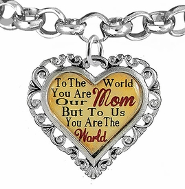 "<BR>               <i>""TO THE WORLD YOU ARE OUR MOM,  <BR>                   BUT TO US YOU ARE THE WORLD""</i> <BR>          BEAUTIFUL WORDS, BEAUTIFUL BRACELET <BR> HYPOALLERGENIC, NICKEL, LEAD, CADMIUM  FREE! <BR>W1821B2 - ""MOM"" HEART CHARM, ADJUSTABLE CHAIN <BR>          BRACELET FROM $7.90 TO $12.50 �2016"