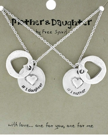 <BR>                           TWO NECKLACES!! <BR>                   ONE TO GIVE ONE TO KEEP!!<BR>                     LEAD AND NICKEL FREE!! <BR>        W17854N - MOTHER AND DAUGHTER<BR> GIFT!!! HIGH POLISHED SILVER TONE HEART  <BR>         DISC NECKLACES FROM $6.75 TO $15.00