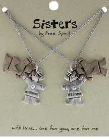 <BR>                           TWO NECKLACES!! <BR>                   ONE TO GIVE ONE TO KEEP!!<BR>                     LEAD AND NICKEL FREE!! <BR>               W17855N - SISTERS GIFT!!!  TWO<BR>            TONE HEART #1 SISTER NECKLACES<BR>                         FROM $6.75 TO $15.00