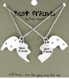 <BR>                           TWO NECKLACES!! <BR>                   ONE TO GIVE ONE TO KEEP!!<BR>                     LEAD AND NICKEL FREE!! <BR> W17858N - BEST FRIENDS GIFT!!!  HIGH POLISHED<BR>               SILVER TONE HEART BEST FRIENDS <BR>               NECKLACES FROM $6.75 TO $15.00