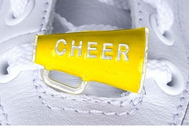"<Br>        US PATENT PENDING<Br>        EXCLUSIVELY OURS!!<BR>   AN ALLAN ROBIN DESIGN!<BR>       LEAD & NICKEL FREE!!<Br>W13280C - YELLOW ""CHEER""<Br> 2-PIECE MEGAPHONE SHOE<br>    CHARM AS LOW AS $3.10"