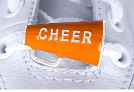 "<Br>        US PATENT PENDING<Br>        EXCLUSIVELY OURS!!<BR>   AN ALLAN ROBIN DESIGN!<BR>       LEAD & NICKEL FREE!!<Br>W13282C - ORANGE ""CHEER""<Br> 2-PIECE MEGAPHONE SHOE<br>    CHARM AS LOW AS $3.10"