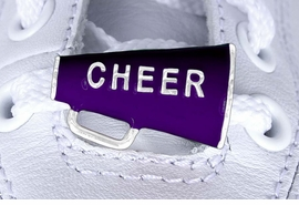"<Br>        US PATENT PENDING<Br>        EXCLUSIVELY OURS!!<BR>   AN ALLAN ROBIN DESIGN!<BR>        LEAD & NICKEL FREE!!<Br>W13283C - PURPLE ""CHEER""<Br> 2-PIECE MEGAPHONE SHOE<br>    CHARM AS LOW AS $3.10"