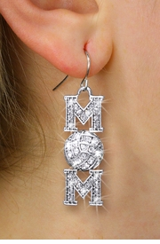 """<BR>       VOLLEYBALL MOM EARRINGS <bR>                EXCLUSIVELY OURS!! <Br>           AN ALLAN ROBIN DESIGN!! <BR>     LEAD, NICKEL & CADMIUM FREE!! <BR> W1472SE - SILVER TONE VOLLEYBALL """"MOM"""" <BR>      CLEAR CRYSTAL CHARM EARRINGS <BR>        FROM $5.40 TO $10.45 �2013"""