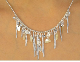 <bR>    W10035NE - POLISHED SILVER FINISH<Br>     NATURAL COLOR MINI BEAD & SHELL<Br>NECKLACE & EARRINGS AS LOW AS $11.25