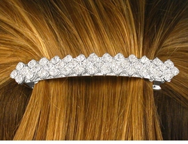 W10087HJ - SILVER TONE TRIPLE-ROW<Br> DIAMOND-SHAPE & ROUND GENUINE<Br>         AUSTRIAN CRYSTAL HAIR CLIP<Br>                  FROM $2.81 TO $6.25