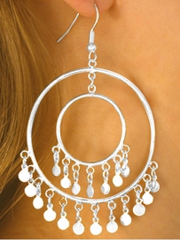 <br> W10103EA - 2-COLOR POLISHED FINISH<Br>      DOUBLE-CIRCLE & MINI DISC DROP<Br>EARRING ASSORTMENT AS LOW AS $3.05