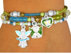W10176BA - CHILDREN'S TRIPLE-BRACELET<Br>      LEAD & NICKEL FREE 4-COLOR ANGEL<Br>                 STRETCH CHARM BRACELET <Br>        ASSORTMENT FROM $3.94 TO $7.85