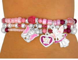 W10176BA - CHILDREN'S TRIPLE-BRACELET<Br>      LEAD & NICKEL FREE 4-COLOR ANGEL<Br>                 STRETCH CHARM BRACELET <Br>        ASSORTMENT FROM $3.94 TO $8.75