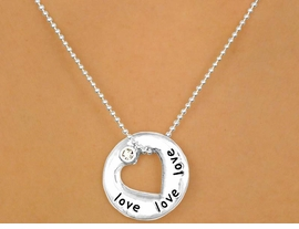 "W10319N - POLISHED SILVER TONE<Br>   ""LOVE"" & HEART CUT-OUT DISC<Br>        NECKLACE AS LOW AS $3.00"