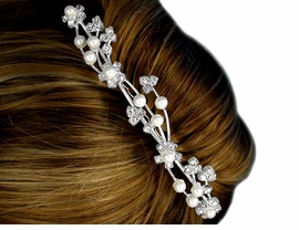 W10575HJ - FANCY AUSTRIAN CRYSTAL<br>    & FAUX PEARL FLORAL WAVE HAIR<Br>          COMB FROM $7.85 TO $17.50